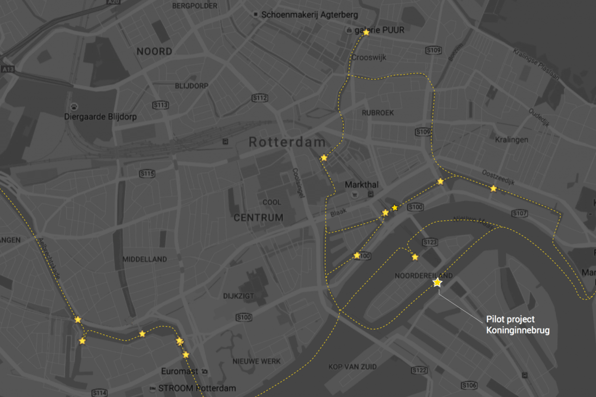 Locations of 17 empty bridge houses in Rotterdam